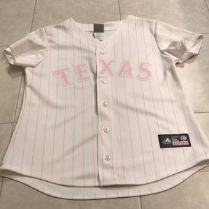 Majestic pink Texas Rangers jersey